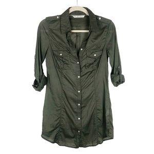 NWOT Zara TRF Button Down Shirt Dress Green